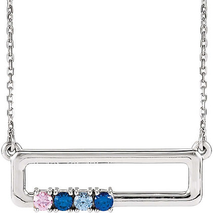 Any color 14K Gold 1 to 5 Gem Family Necklace