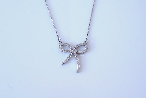 Any Color 14K Gold Diamond Bow Necklace