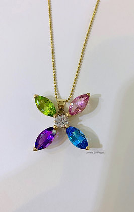 14K Yellow Gold Multi-Gemstone Floral Necklace