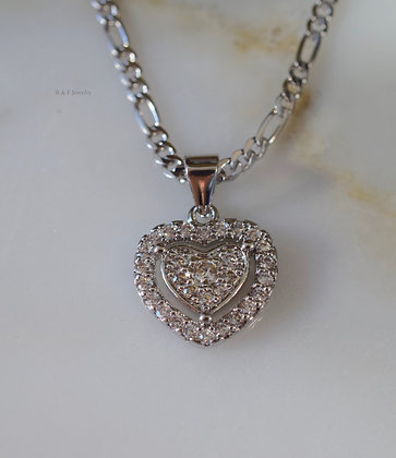White Gold Plated Diamond Inspired Heart Necklace