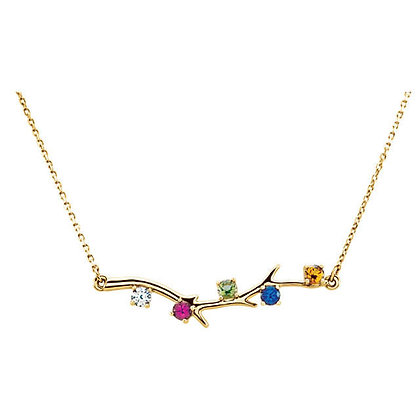 Any Color 14K Birthstone Necklace: 0 to 5 Stones