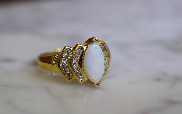 14K Yellow Gold Marquise Shaped Opal And Diamond Ring