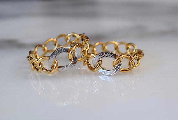 14K Bicolor Gold Chain Design Hoop Earrings