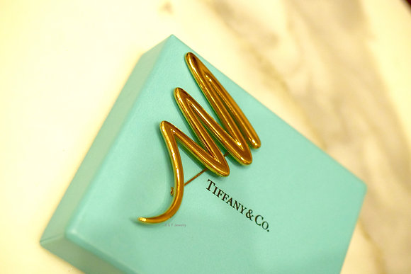 Vintage 18K Yellow Gold Tiffany & Co. Paloma Picasso Scribble Brooch/ Pin