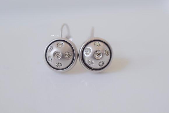 Matte 14K White Gold Bezel Set Diamond Drop Earrings