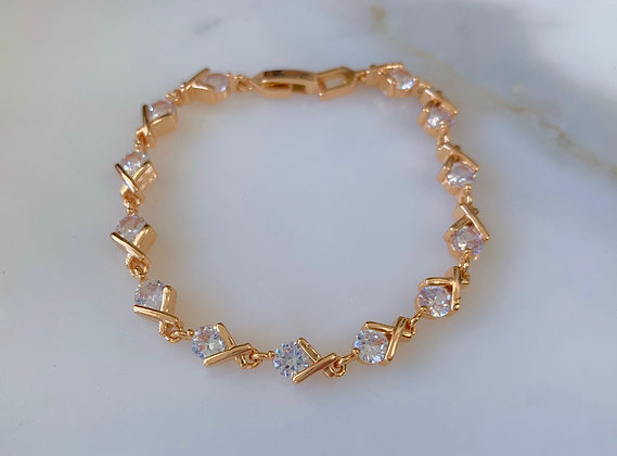 Rose Gold Plated X And O Design Diamond Inspired Tennis Bracelet