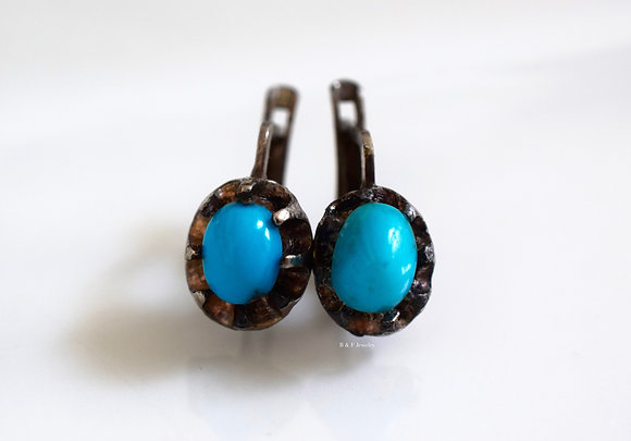 Antique 9K White Gold Persian Turquoise Earrings