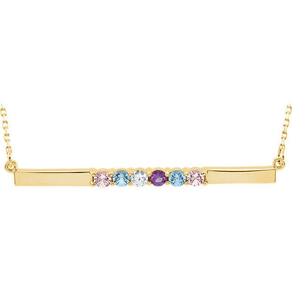 Any Color 14K Birthstone Bar Necklace: 1 to 6 Gems