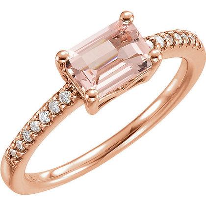 Rose Gold Emerald Cut Morganite And Diamond Ring
