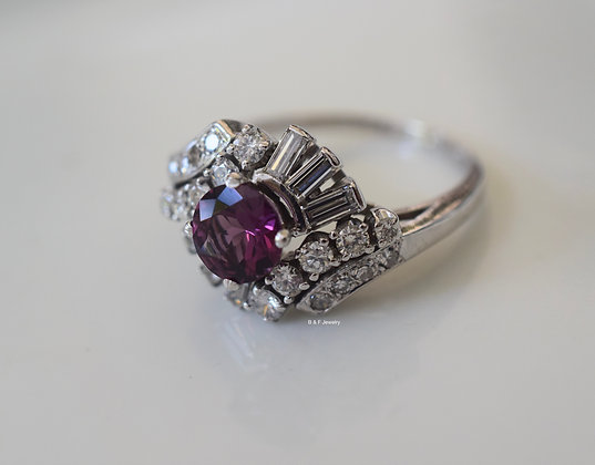 Vintage 14K White Gold Purple Spinal And Diamond Ring