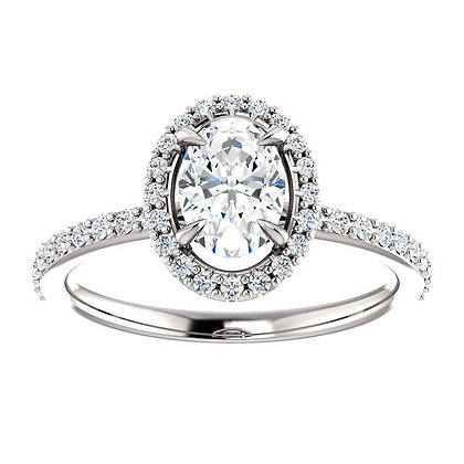Any Color 14K Gold Halo White Sapphire Engagement Ring- Has Band