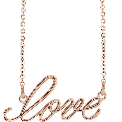 Any Color 14K Gold Love Script Necklace
