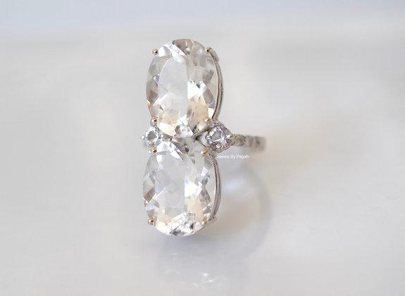 14K White Gold Multi White Stone Ring