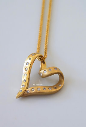 14K Yellow Or White Gold Diamond Heart Necklace