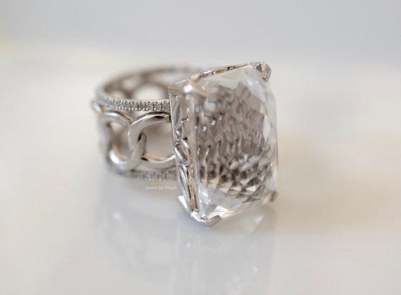 14K White Gold Diamond And White Topaz Ring