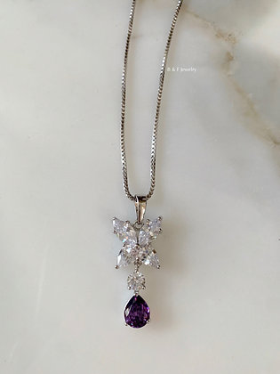 White Gold Plated Amethyst And Diamond Inspired Necklace