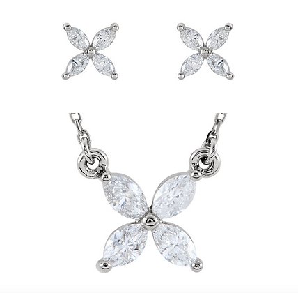 Any Color 14K Gold Marquise White Sapphire Butterfly Earrings And/Or Necklace
