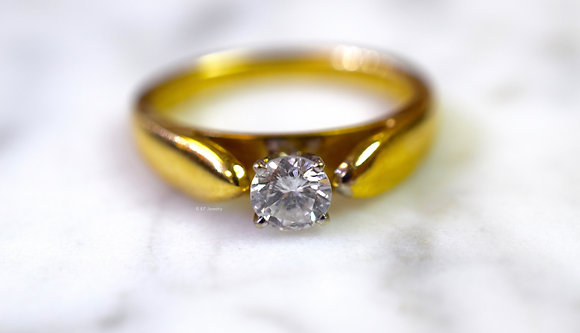 14K Gold .42 Carat Round Diamond Solitaire Engagement Ring
