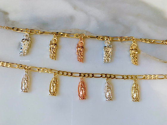 Tricolor Gold Plated Virgin Mary Or Saint Jude Charm Bracelet