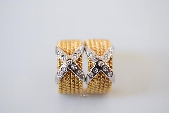14K Gold Diamond Criss Cross Earrings- Has Matching Bands