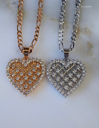 White Or Yellow Gold Plated Diamond Inspired Heart Necklace With 4 Chain Styles