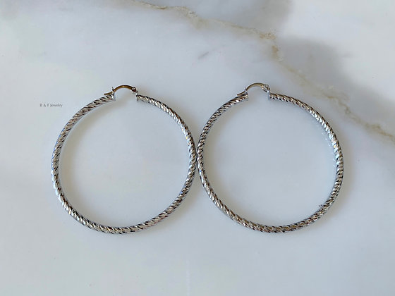 White Gold Plated Diamond Cut Hoops
