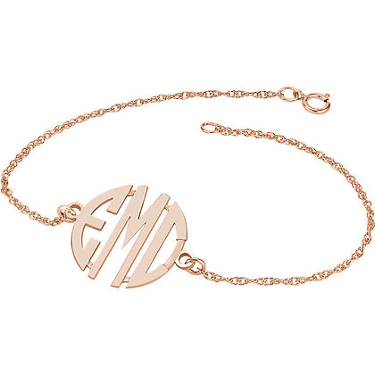 Any Color 14K Gold 3 Letter Monogram Bracelet- Has Necklace