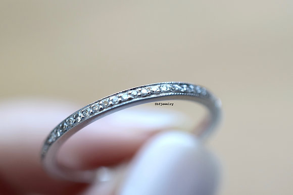 Any Color 14K Gold Micro Pave Thin Diamond Band