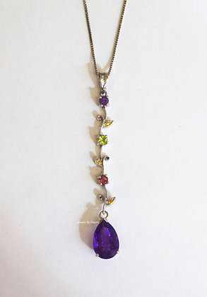 14K White Gold Pear Shape Amethyst And Multi-Color Gemstone Necklace