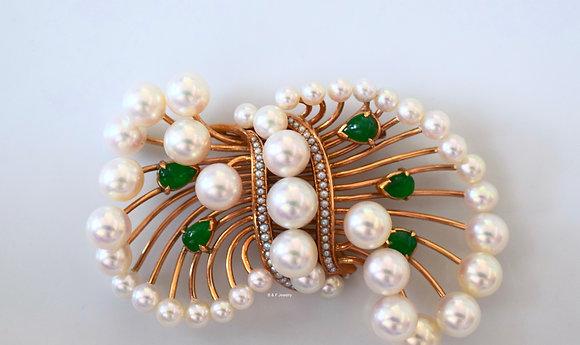 Vintage Pearl And Jadeite Brooch