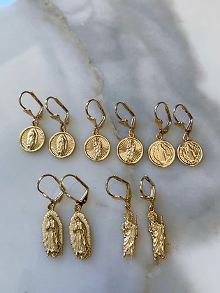 Gold Dipped Saint Earrings In 5 Styles: Matching Necklaces Available