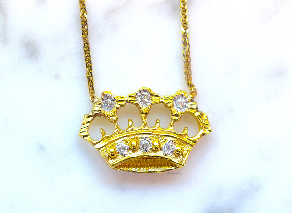 Any Color 14K Gold Diamond Crown Necklace