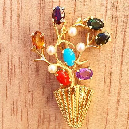 Vintage Floral Arrangement Brooch