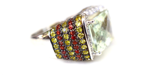 LeVian Green Amethyst, Diamond, Orange Sapphire, And Yellow Sapphire Ring
