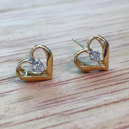 14K Yellow Or White Gold Diamond Heart Earrings- Has Pendant & Ring