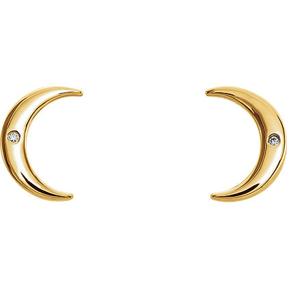 Any Color 14K Gold Diamond Crescent Earrings