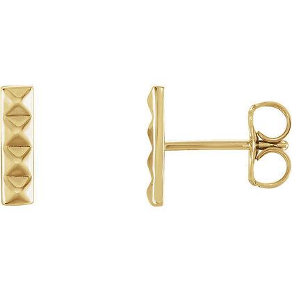 Pyramid Bar Earrings- Any Color 14K Gold