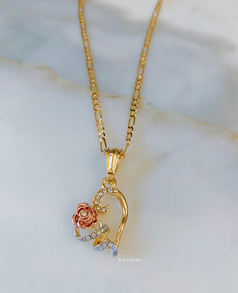Gold Plated Tricolor Rose Heart Necklace