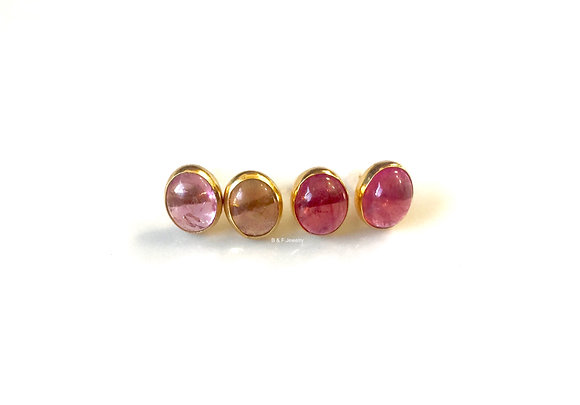 18K Gold Oval Cabochon Pink Tourmaline Earrings