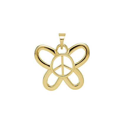 14K White Or Yellow Butterfly Peace Sign Necklace