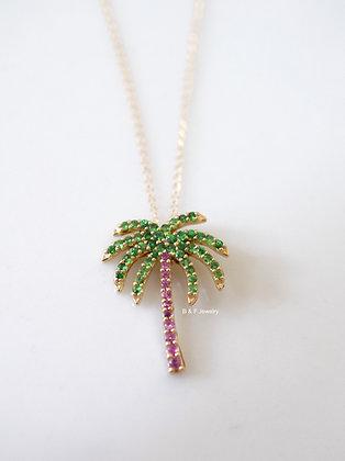 14K Gold Pink Sapphire & Tsavorite Palm Tree Necklace