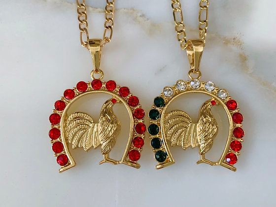 Gold Plated Horseshoe Rooster Necklace In 2 Style Options
