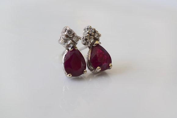 14K White Gold Pear Shape Ruby And Diamond Stud Earrings