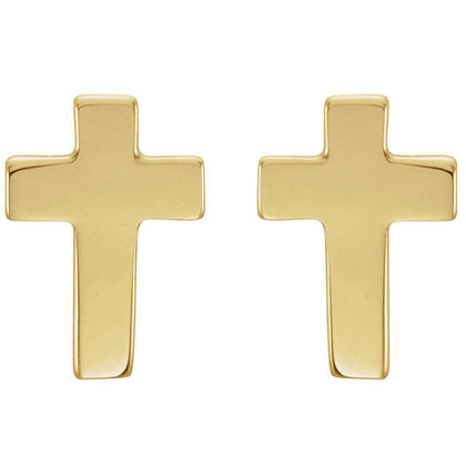 Any Color 14K Gold Cross Earrings- Has Matching Necklace