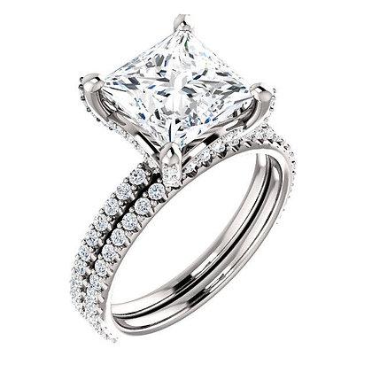 2nd Payment: Princess Cut Moissanite And Diamond Bridal Set