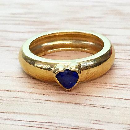 14K Gold Sapphire Heart Ring
