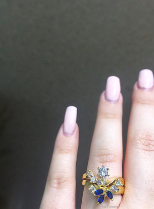 14K Gold Diamond & Sapphire Bridal Set