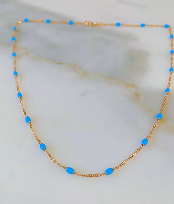Rose Gold Plated Turquoise Blue Enamel Necklace