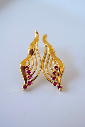 New Vintage 14K Gold Ruby Earrings- Sapphire Version Available As Well