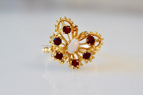 Vintage 14K Gold Garnet And Opal Butterfly Ring